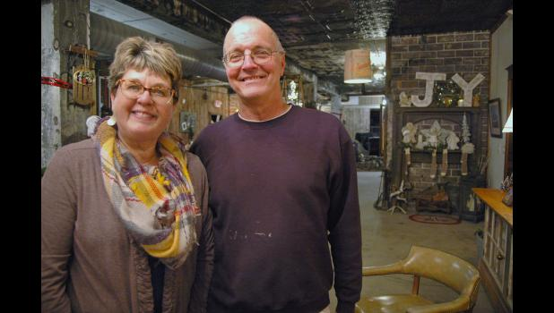 Maralie (left) and Greg Ruth, of Jefferson, have spent the past several years restoring the old factory building near the overpass. As Pickaway, the building will house an antiques store and a venue that can be rented for events. ANDREW McGINN | JEFFERSON HERALD PHOTOS