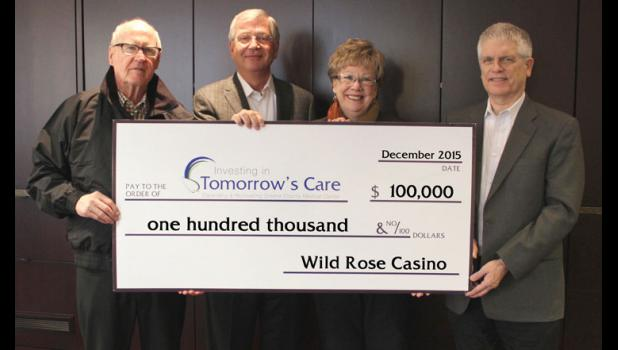 "Wild Rose Casino recently gave $100,000 to the Greene County Medical Center's ""Investing in Tomorrow's Care"" capital campaign. Pictured (from left): Gary Kirke, Wild Rose chairman; Michael Richards, Wild Rose vice chairman; Hollie Roberts, Greene County Medical Center Foundation director; and Tom Timmons, Wild Rose president. CONTRIBUTED PHOTO"