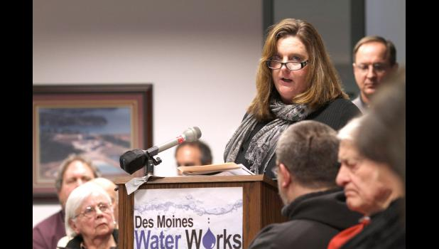 Chris Wilbeck, 50, a former rural Rippey resident, urged the Des Moines Water Works board of trustees to file a federal lawsuit against three counties over farm runoff that taints the Raccoon River, an important source of drinking water for Des Moines area residents.