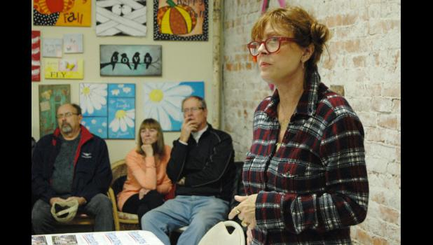 """Oscar-winning actress and progressive activist Susan Sarandon listens to a question Wednesday at Homestead Coffee and Bakery during a visit to Jefferson in support of Democratic presidential candidate Bernie Sanders. """"I'm so thrilled and terrified about this election,"""" she said. ANDREW McGINN 