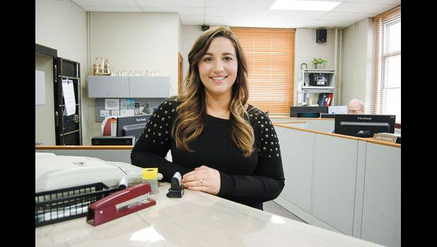 """""""I do feel like I have to prove myself to half the county,"""" says Greene County Treasurer Katlynn Mechaelsen, who won election in November by a single vote. At 25, her age was seen as both a strength and a detriment. """"Yes, but I've had to mature a lot in the past five years,"""" she says, referring to her triumph over a brain tumor. ANDREW McGINN   JEFFERSON HERALD PHOTOS"""