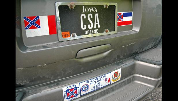 Burkett's great-grandfather, Mississippi native Andrew Jackson Burkett, is one of four Confederate veterans buried in Greene County. The CSA on his license plate stands for Confederate States of America.