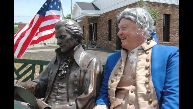 "Tom Polking (right), chairman of the Thomas Jefferson Gardens board, pictured in 2014, believes a Greene County welcome center located within the garden is still ""extremely important."" HERALD FILE PHOTO"