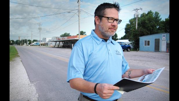 Jefferson city councilman Matt Wetrich stands in 2018 on East Lincoln Way. The east entryway won't be Jefferson's least-welcoming for too much longer. Improvements to the corridor are in the council's sights. HERALD FILE PHOTO