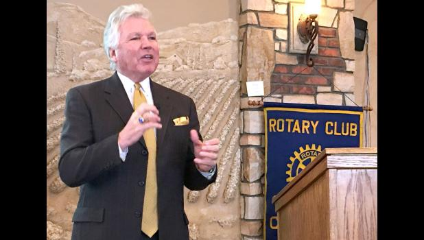 Iowa Hall of Pride director Jack Lashier, a Jefferson High alum, talks Monday with the Carroll Rotary Club about the organization's growth over 13 years of operation.