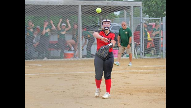 Greene County's Emma Hoyle earned a second team, All-Heart of Iowa Conference selection thanks to her 109 strikeouts, which were the third-most in the league this summer. BRANDON HURLEY | JEFFERSON HERALD