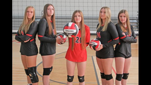 The Greene County volleyball team returns five letter-winners for the 2021fall season. They are pictured, from left to right: Kaylee Stalder, Brianna Habben, Katrina Heupel (middle), Isabella Schroeder and Natalie Heupel.  BRANDON HURLEY | JEFFERSON HERALD