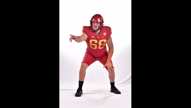 Former Greene County offensive lineman Tyler Miller enters his redshirt freshman season at Iowa State University. Miller helped lead the Rams to 17 wins in a two year span before graduating in 2019, earning a full scholarship to play for the Cyclones.  PHOTO COURTESY OF ISU ATHLETICS