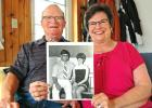 """The golden years: Steve and Karen McCoy, of Jefferson, will observe their golden wedding anniversary on Saturday. Fifty years ago, they were selected as the """"local bridal couple of 1970"""" by Jefferson newspaper readers. ANDREW McGINN 
