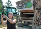 U.S. Sen. Joni Ernst, R-Iowa, shoots a selfie video Friday south of Jefferson for her online followers after spending part of the afternoon with James Holz and Bill Frederick, owners of Iowa Cover Crop. The Greene County-based business has been spreading the gospel of cover crops as a way to improve water quality. ANDREW McGINN | JEFFERSON HERALD PHOTOS