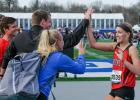 Greene County Class of 2018 graduate Megan Durbin (right) is the only two-time Drake Relays champion in school history. She also won the 2016 high jump state championship.  JEFFERSON HERALD FILE PHOTO
